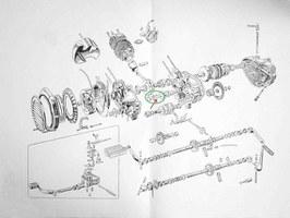 Sprängskiss mopedmotor